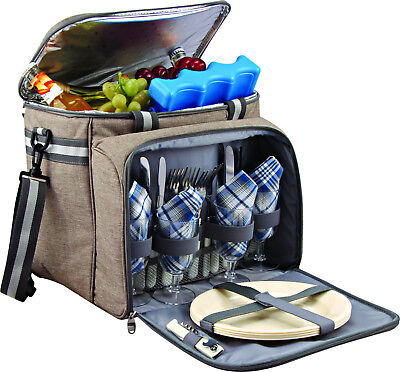 GEEZY 4 Person Family Picnic Hamper Insulated Cooler Cool Bag Haldall Basket