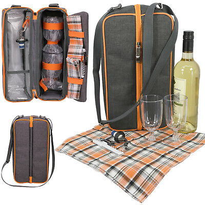 2 Person Insulated Wine Bottle Cooler Bag Picnic Drinks