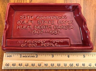 Vintage Rosemeade Pottery Kulm State Bank North Dakota Ashtray 1957