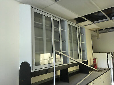 """4'x4'x16"""" Overhead Lab Storage Cabinets with Sliding Glass Doors"""