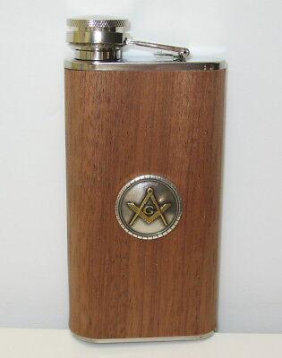 Freemasons Masonic Gold Silver Logo 9 oz Big Mouth Stainless Flask - NEW