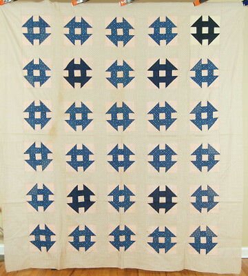 WELL PIECED Vintage Churn Dask Monkey Wrench Antique Quilt Top ~NICE BLUES!