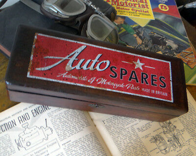 Retro Vintage style custom finished wooden 'Auto Spares Box' unique decoration