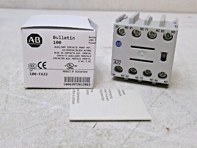 New Allen Bradley Auxilary Contacts 100-FA22 SER B. Free Shipping