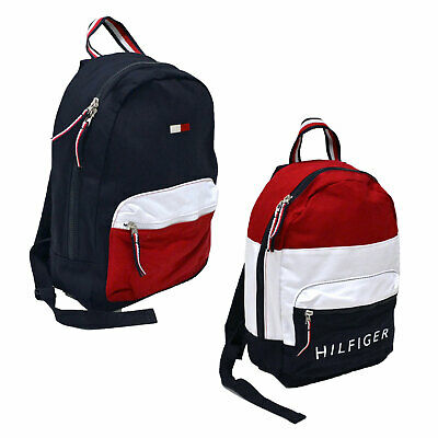 Tommy Hilfiger Backpack Canvas Small Book Bag 2 Pocket School Travel Colorblock
