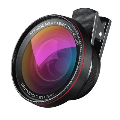 Phone Camera Lens, 0.6X Super Wide Angle Lens + 15X Macro Lens, 2 in 1 Clip-On C