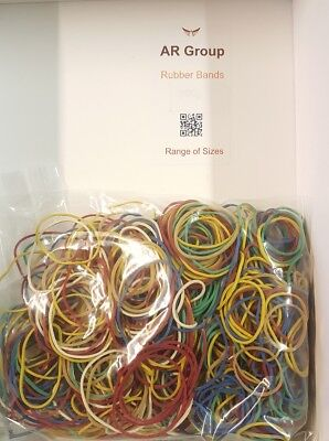 "250 x Elastic Rubber Bands ~ Assorted Size & Colours ~ Length 1 Inch - 3"" Inches"