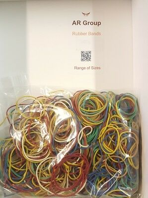 "250 x Elastic Rubber Bands ~ Assorted Sizes & Colours ~ Length 1"" to 3"" --->SALE"