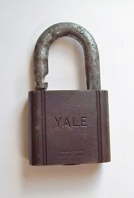 Vtg Yale Brass Padlock, Heavy Lock, Old Yale & Towne, Antique, Larger, No key