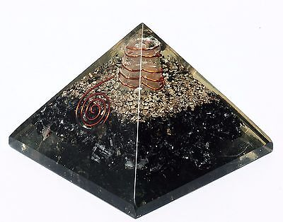Extra Large 70-75MM Black  Tourmaline Orgorne Natural Gemstone Pyramid Organit