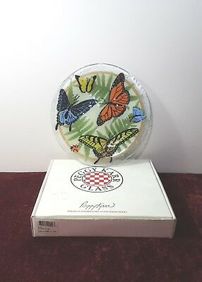 """Htf Signed Peggy Karr Butterflies 7 3/4"""" Fused Glass Plate Unused In Box Usa"""