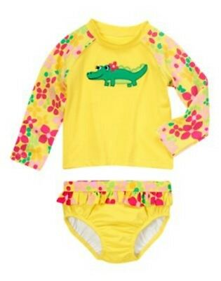 NWT Gymboree Swim Shop Alligator Flower Rash Guard Set Swimsuit Size 3T, 4T, 5T