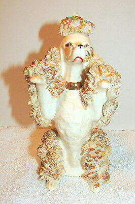 Vintage Ceramic Spaghetti Poodle Dog Ivory w/Gold Begging for Attention