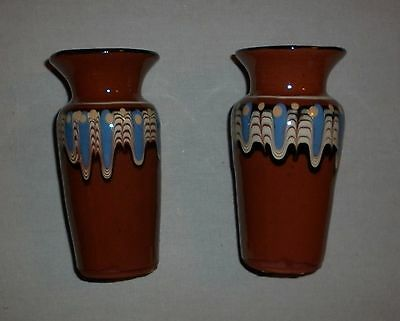 Pair Vintage Bulgarian Drip Glaze Pottery Vases Great  Condition