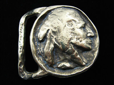 RD15169 VINTAGE 1970s **INDIAN HEAD COIN ART** SOLID BRASS BELT BUCKLE
