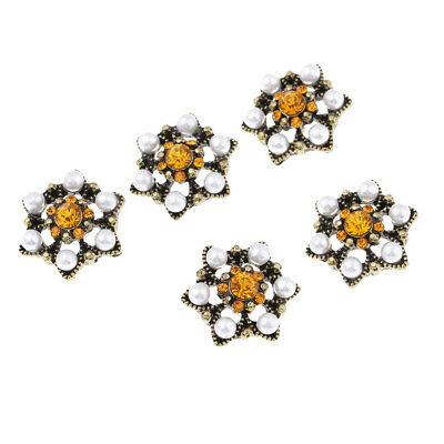 5pcs Crystal Pearl Rhinestone Shank Buttons Flower Buttons Sewing Craft 22mm