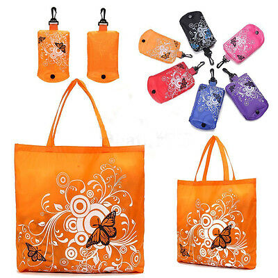 Hot Butterfly Reusable Folding Shopping Bag Travel Pocket Grocery Bags Totes