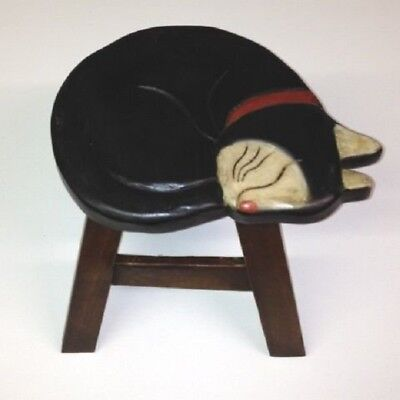 New Wooden Hand Carved Painted Footstool Foot Stool Tuxedo Black White Cat