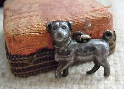 Antique Victorian Sterling Silver Pug Dog Charm Fob Pendant 2 Sided