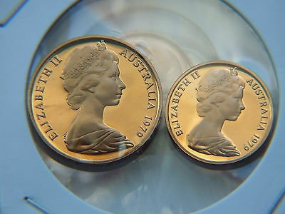 1979 Australian Proof 1 And 2 Cent Coins