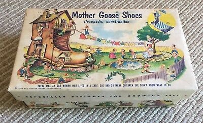 Vtg Mother Goose Shoe Box - circa 1954 - Illustrated - Box Only