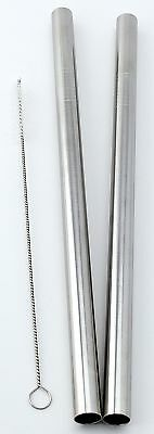 """2 Stainless Steel Straws Big Straw Extra Wide 1/2"""" x 9.5"""" Long Thick FAT ... New"""