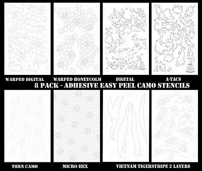 8PACK Camouflage Easy Peel Airbrush Camo Gun R C RC Body Mask Painting Stencils