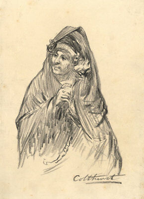 Francis Edward Colthurst - Early 20th Century Charcoal Drawing, Spanish Woman
