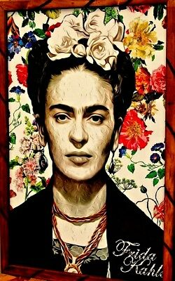 "Art Print/Painting Mexico Frame Frida Kahlo portrait ""All flowers"" 35""X 24"" Huge"