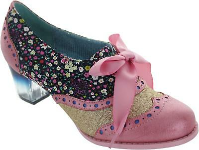 Poetic Licence Corporate Beauty Womens Pink Floral High Heel Wingtip Brogues New