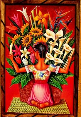 """Print/Painting Mexico Art Wood Frame Diego Rivera """"Vendedora Flores 36""""X24"""" Huge"""