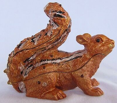 QIFU Rare Large Squirrel Swarovski Collectable Decorative Pill/Trinket Box