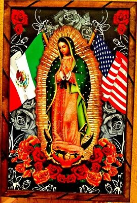 """Virgen Guadalupe Painting/print framed USA & Mexico flags Religious 36""""x24"""" Huge"""