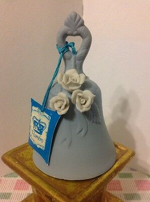 """VTG! FLAMBRO Twilight Blue Bisque Porcelain Bell w/White Roses~ 5""""Tall & 3"""" Wide"""