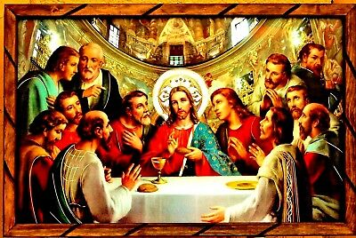 "Art Framed Painting Print Picture Last Supper La Ultima Cena Mexico 36""x24"" Huge"