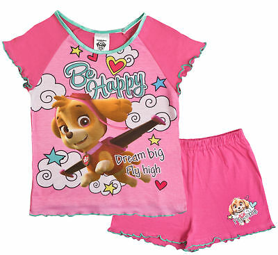Paw Patrol Pyjamas Girls Pink Short Pjs Skye Everest T Shirt + Shorts Kids Size