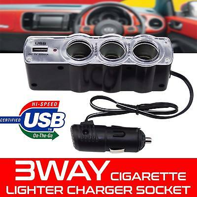 Multi-Car Cigarette Lighter 3 Way Socket Extension Cable Power Splitter USB Port