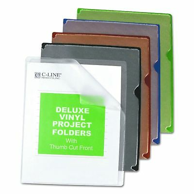 C-Line Deluxe Super Heavyweight Vinyl Project Folders with Colored Backs,... New