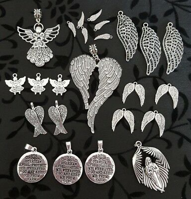 Large Bulk Lot 24 Mixed Sizes Assorted Silver Angel And Wings Charms Pendants