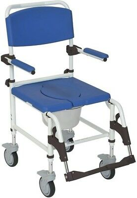 Aluminum Shower Commode Mobile Transport Wheelchair Seat Medical Mobility Chair