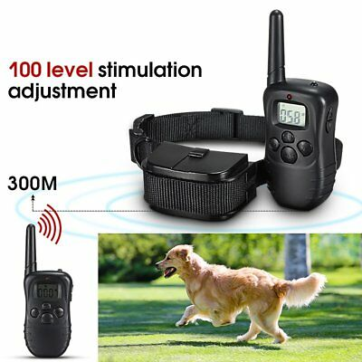Waterproof 300M 100LV LCD Remote Dog Pet Training Collar Shock Vibrate HK
