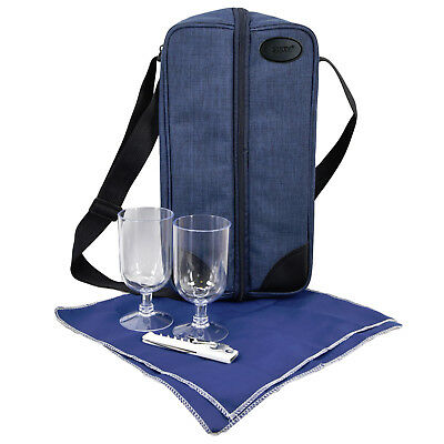 GEEZY 2 Person Denim Wine Bottle Cooler Insulated Bag Picnic Cool Drinks Carrier
