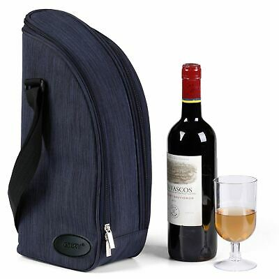 GEEZY 2 Person Insulated Denim Wine Bottle Cooler Bag Picnic Cool Drinks Carrier