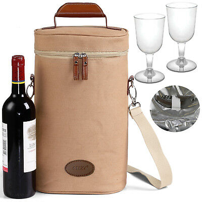 GEEZY 2 Person Deluxe Insulated Wine Bottle Cooler Bag Picnic Cool Drink Carrier
