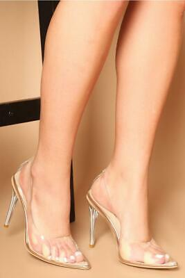 7ee99ae371e NEW WOMAN LADIES Court Pump Shoes Perspex Details High Heels Size 3 ...