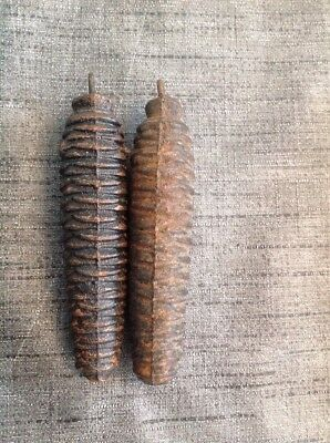 Cuckoo Clock Weights Pair Antique Pine Cone 250g Each 110mm Long