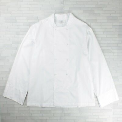 White Chef Coat Chef Jacket Double Breasted Popper Buttons