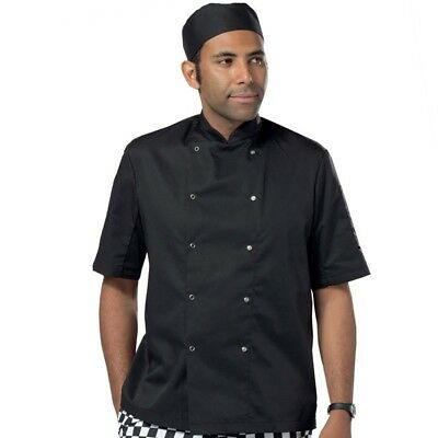 Black Short Sleeve Chef Coat Chef Jacket Double Breasted Popper Buttons