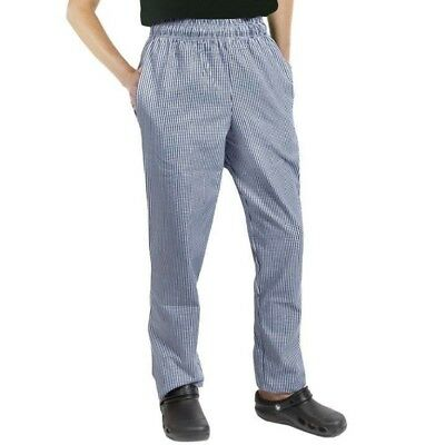 Navy & White Small check Chef Trousers 4 pockets drawstring elasticated