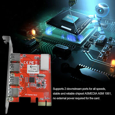 WBTUO LT109NS PCI-Express to USB 3.0 Card Expansion Card for Desktop Riser Red